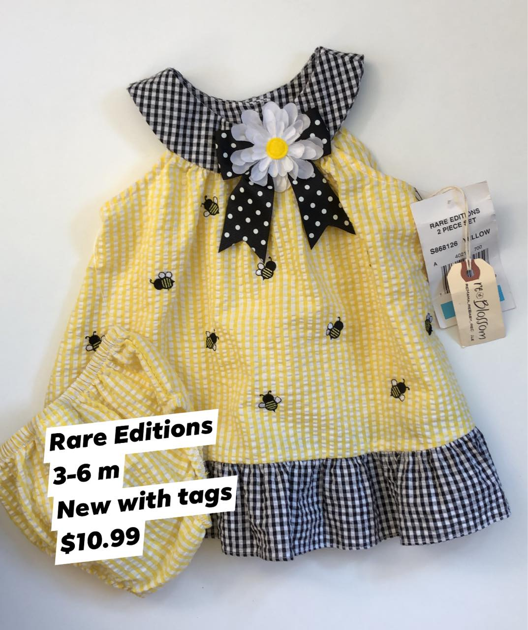 Resale 3-6 m Rare Editions Bumblebee Dress