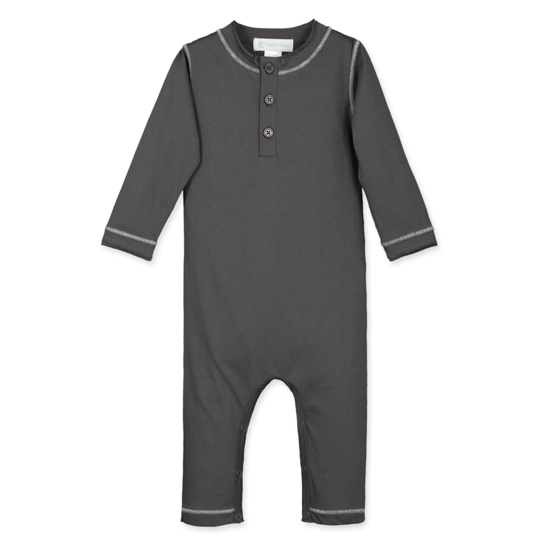 Feather Baby Stitched Henley Long John - Charcoal