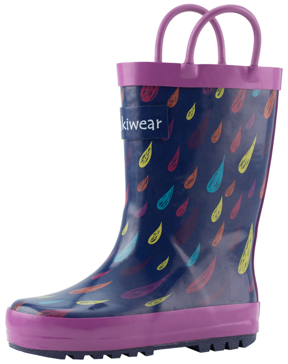 Oakiwear Loop Handle Rubber Rain Boots - Colorful Raindrops