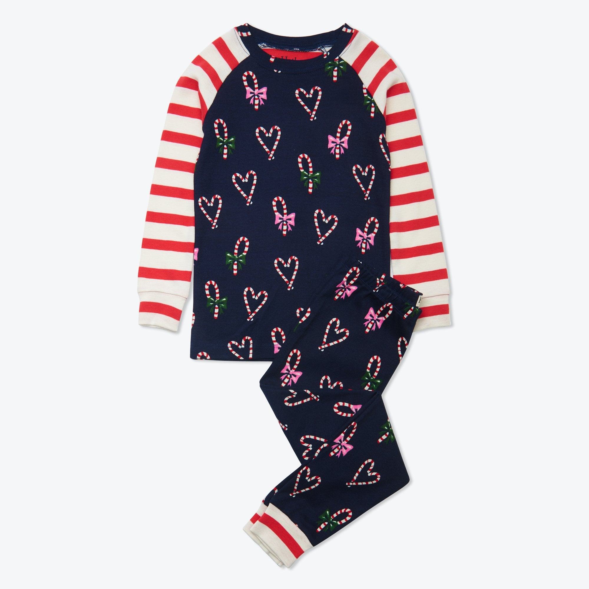 Hatley Candy Cane Hearts Organic Cotton Raglan Pajama Set