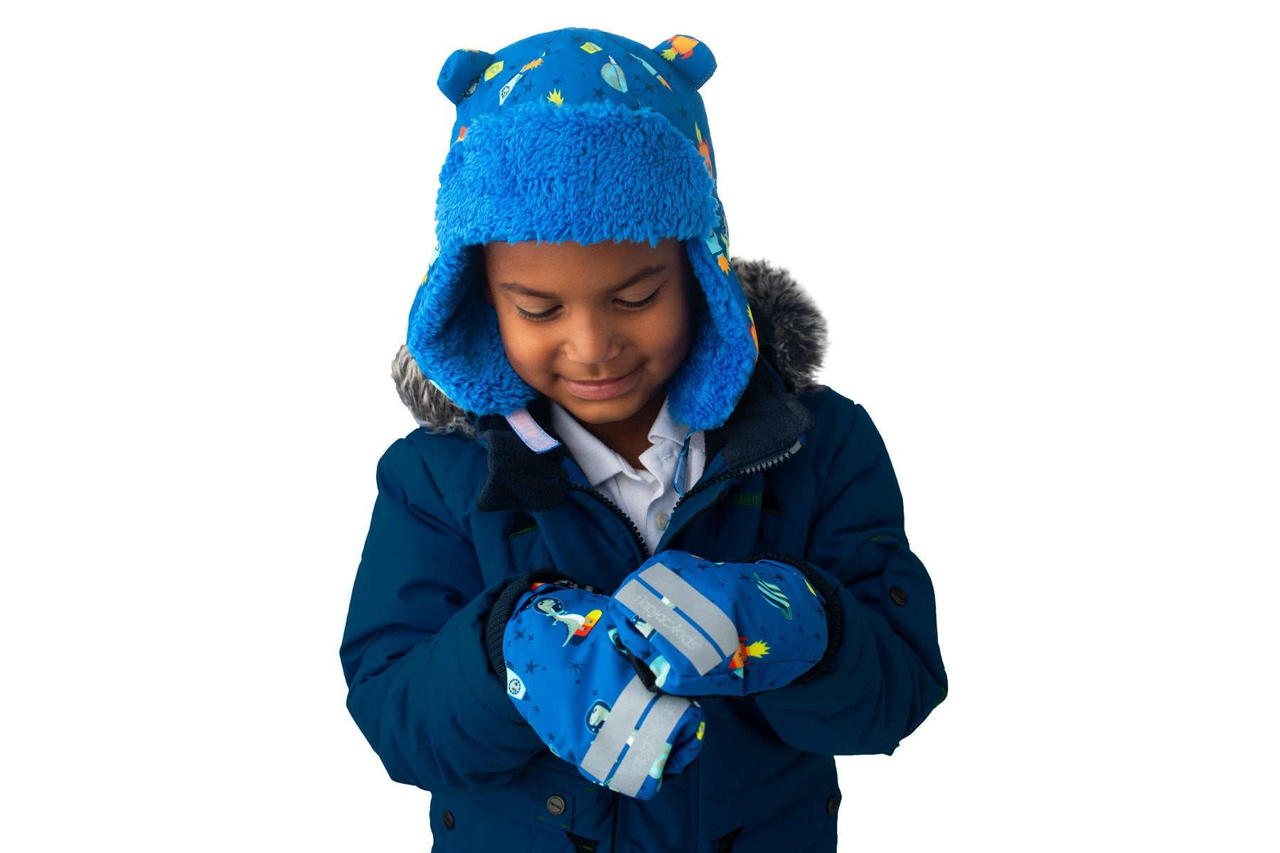 Flap Jack Kids Water Repellent Ski Mittens - Space Dino