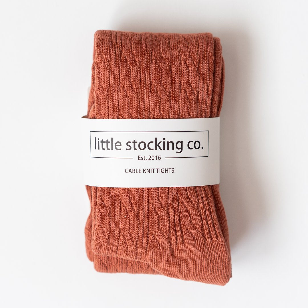 Little Stocking Co. Knit Tights - Rust Cable