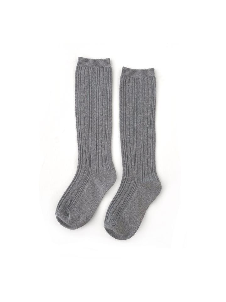 Little Stocking Co. Cable Knit Knee High Socks - Gray