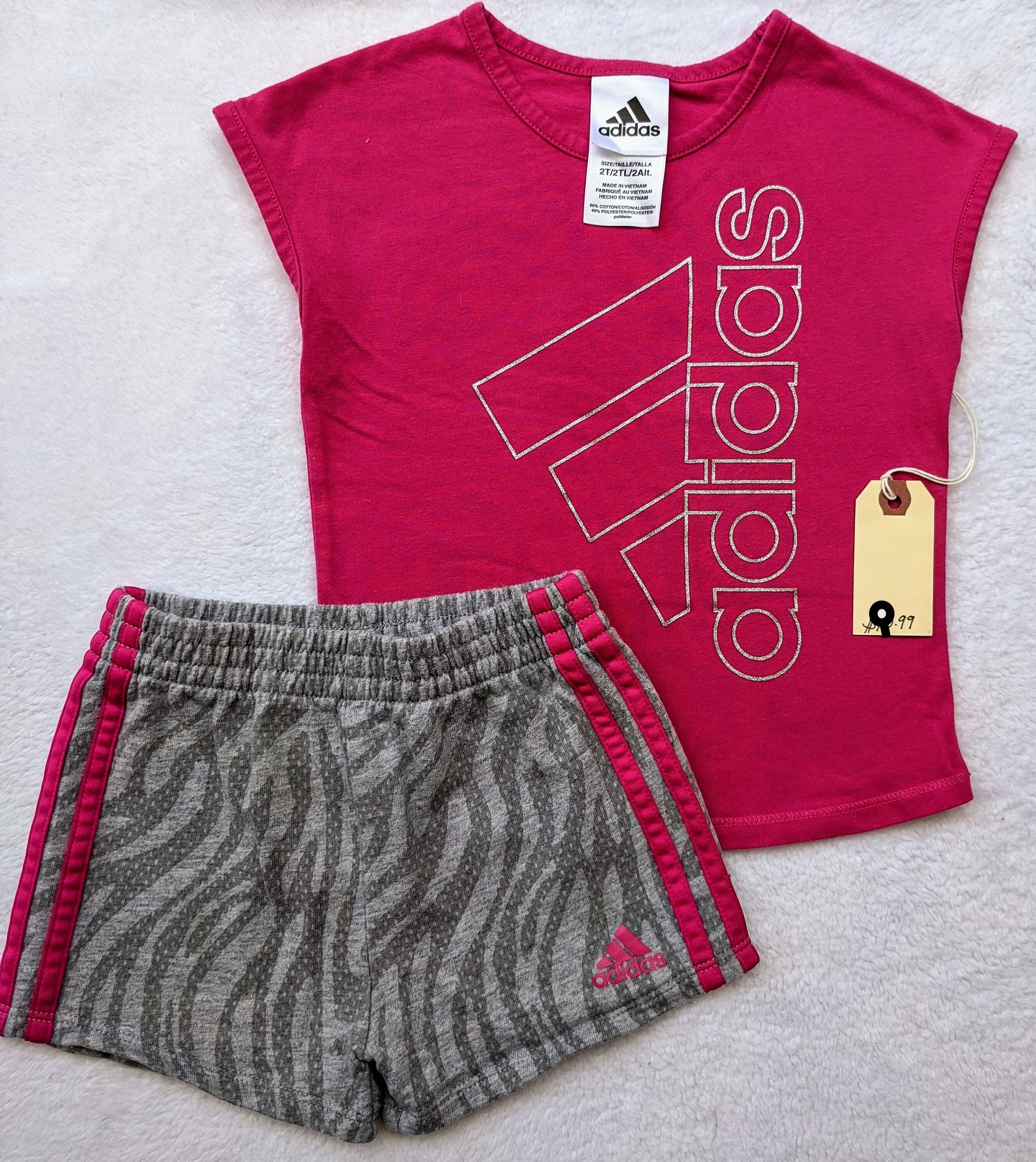Resale 2T Adidas Pink T-shirt & Shorts