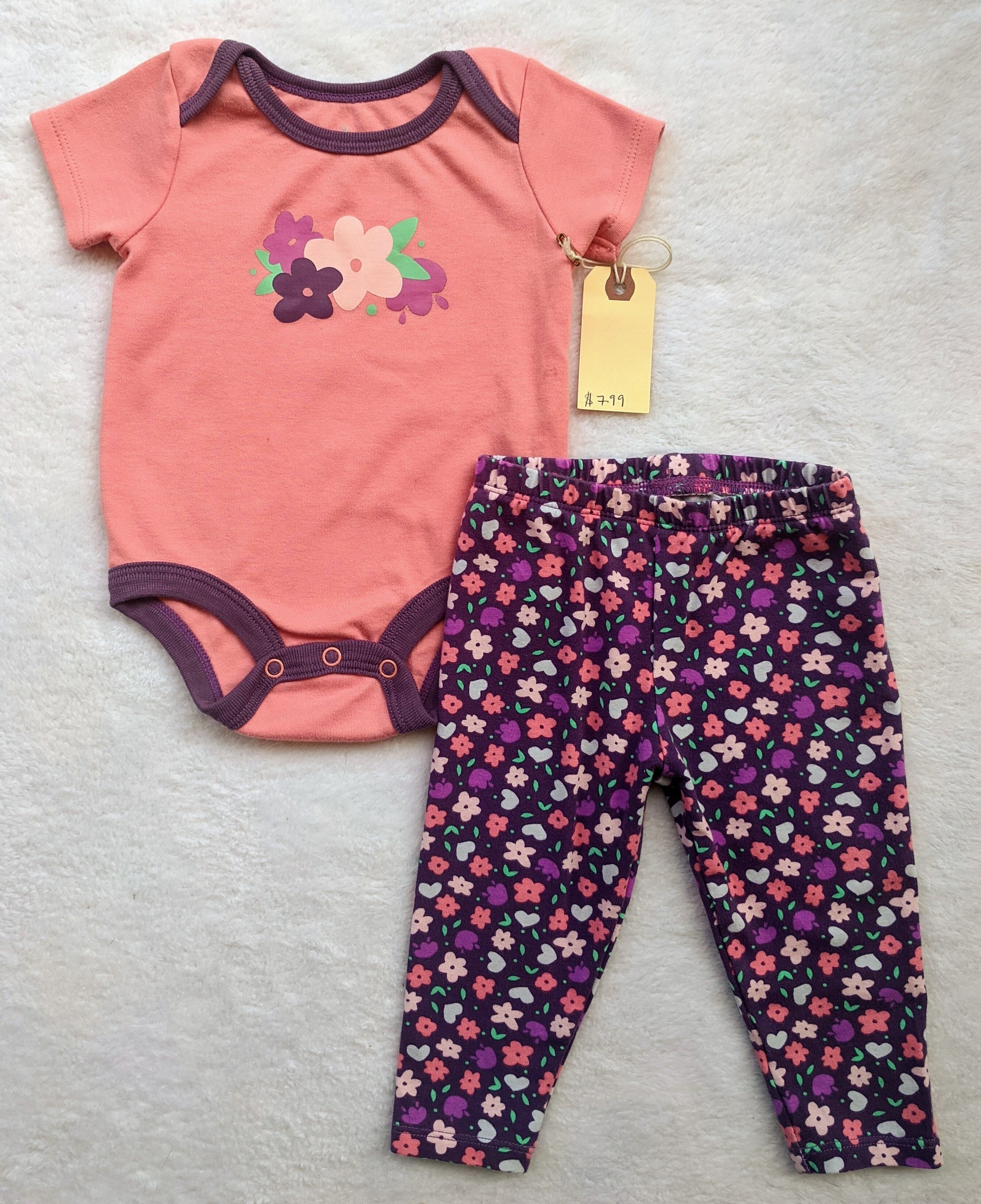 Resale 3-6 m Lullaby Lane Pink Floral Outfit