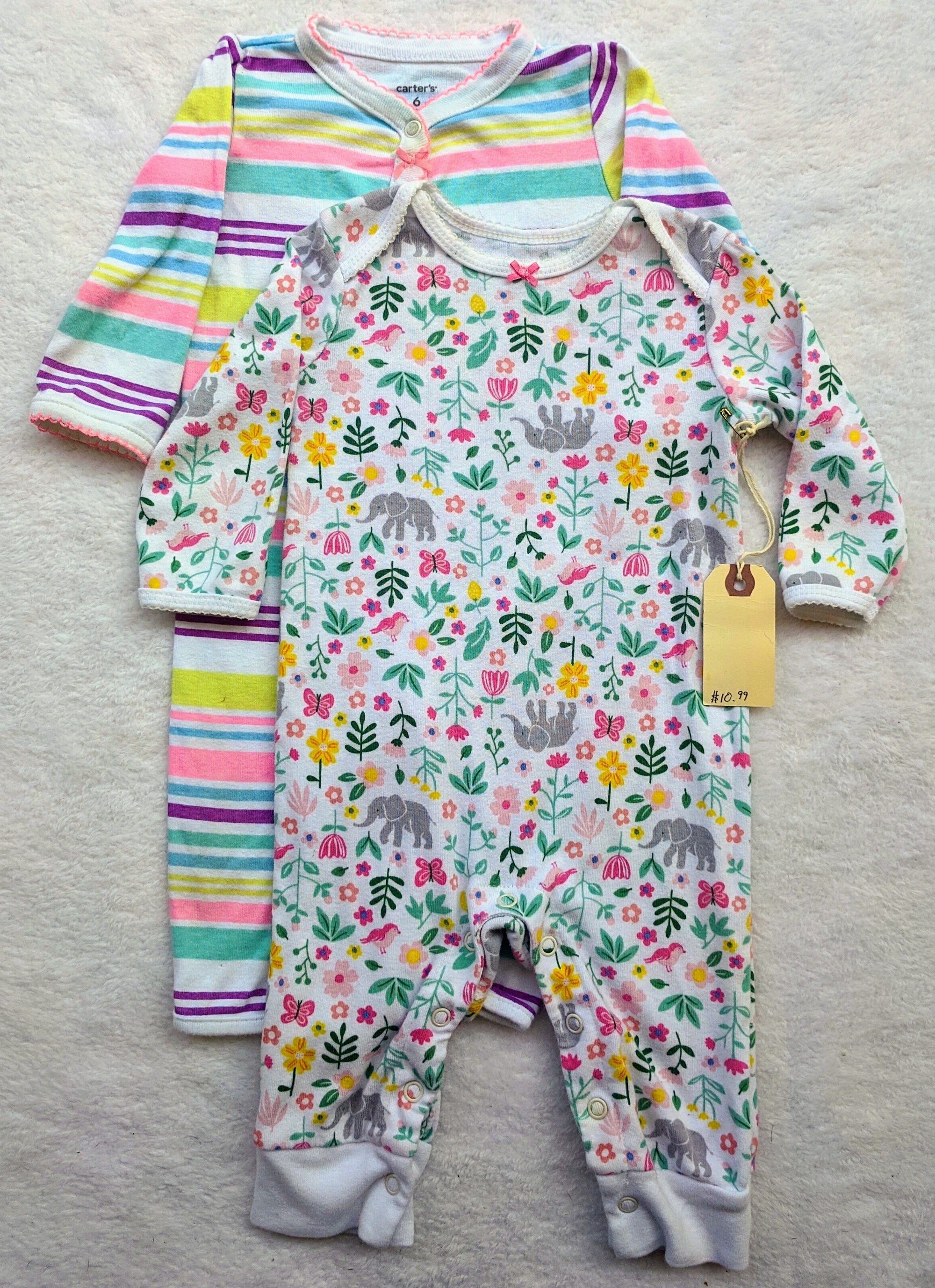 Resale 6 m Carter's Stripes & Elephant Floral Playsuit Set