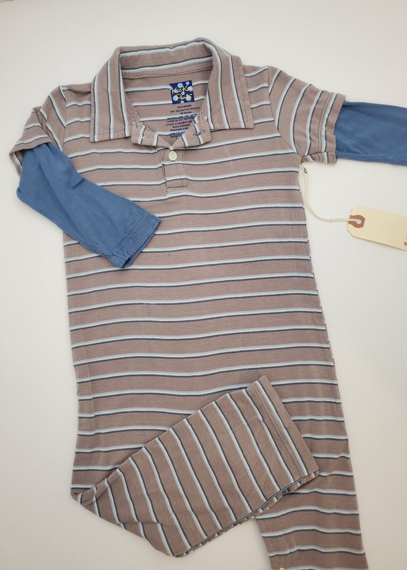 Resale 18-24 m KicKee Pants Grey / Blue Striped Playsuit