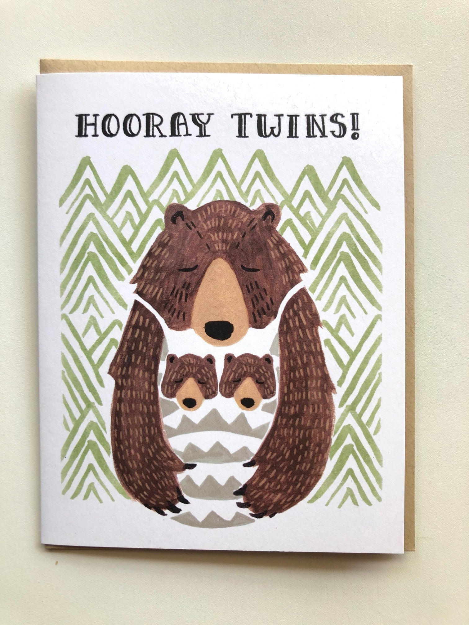 Hooray Twins Bear Card