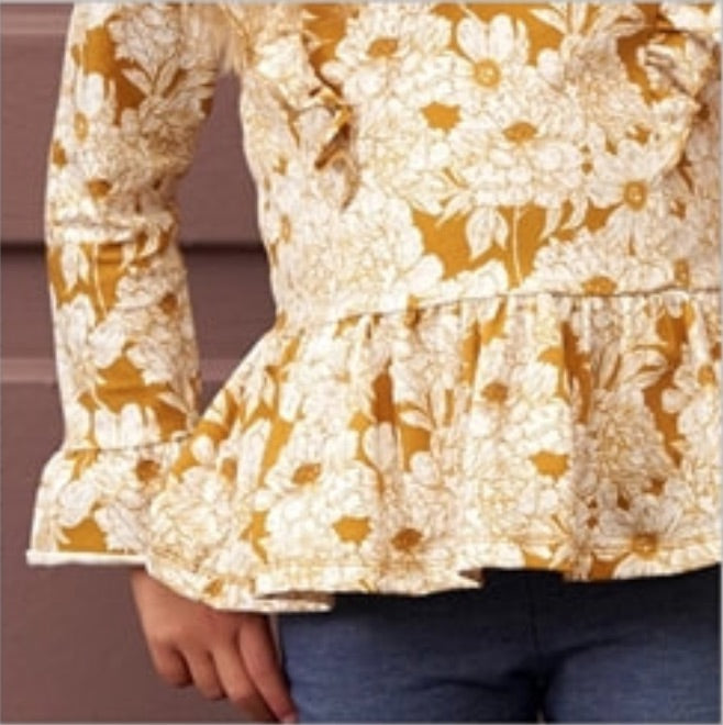 Müsli Printed Long-Sleeve Ruffle Top