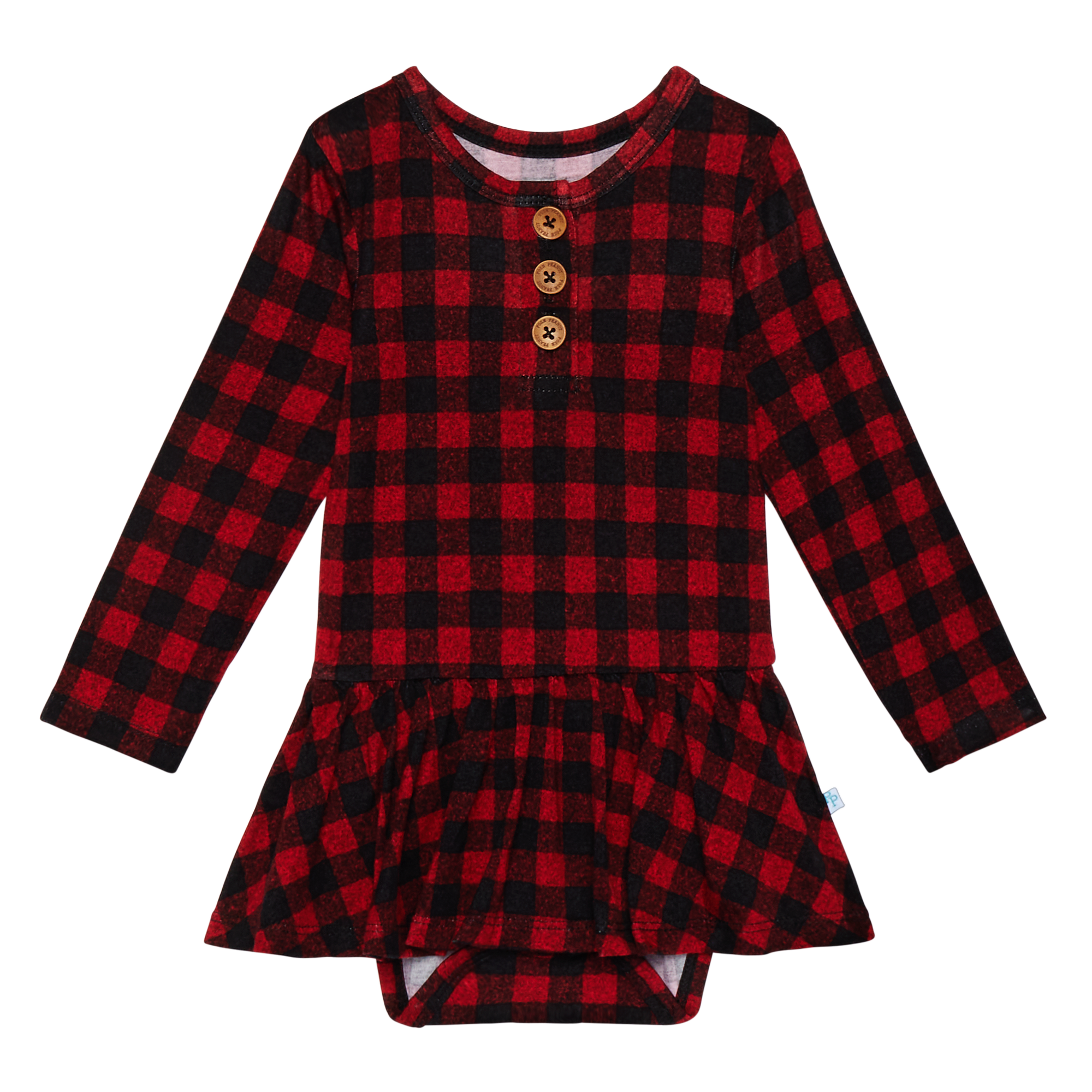Posh Peanut Grayson Plaid Long Sleeve Henley with Twirl Skirt Bodysuit