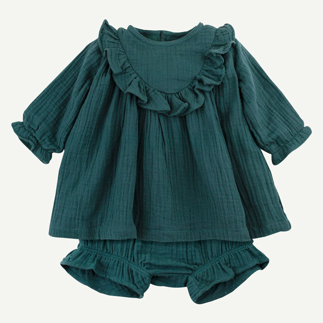Oliver & Rain Organic Pine Green Dress Set