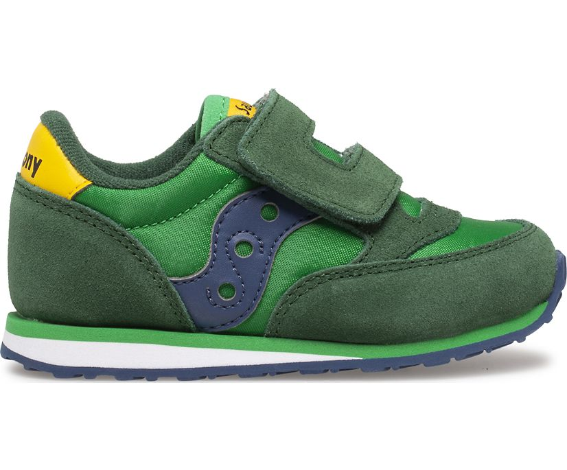 Saucony Jazz Double Hook & Loop Sneaker - Green/Yellow/Blue