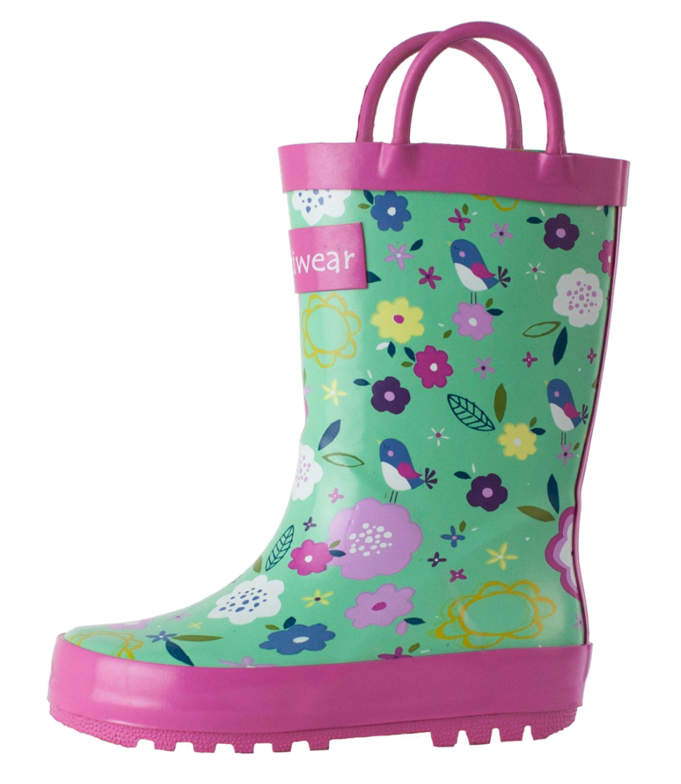 Oakiwear Loop Handle Rubber Rain Boots - Green Floral