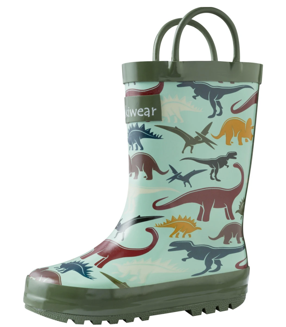 Oakiwear Loop Handle Rubber Rain Boots - Earthy Dinosaurs