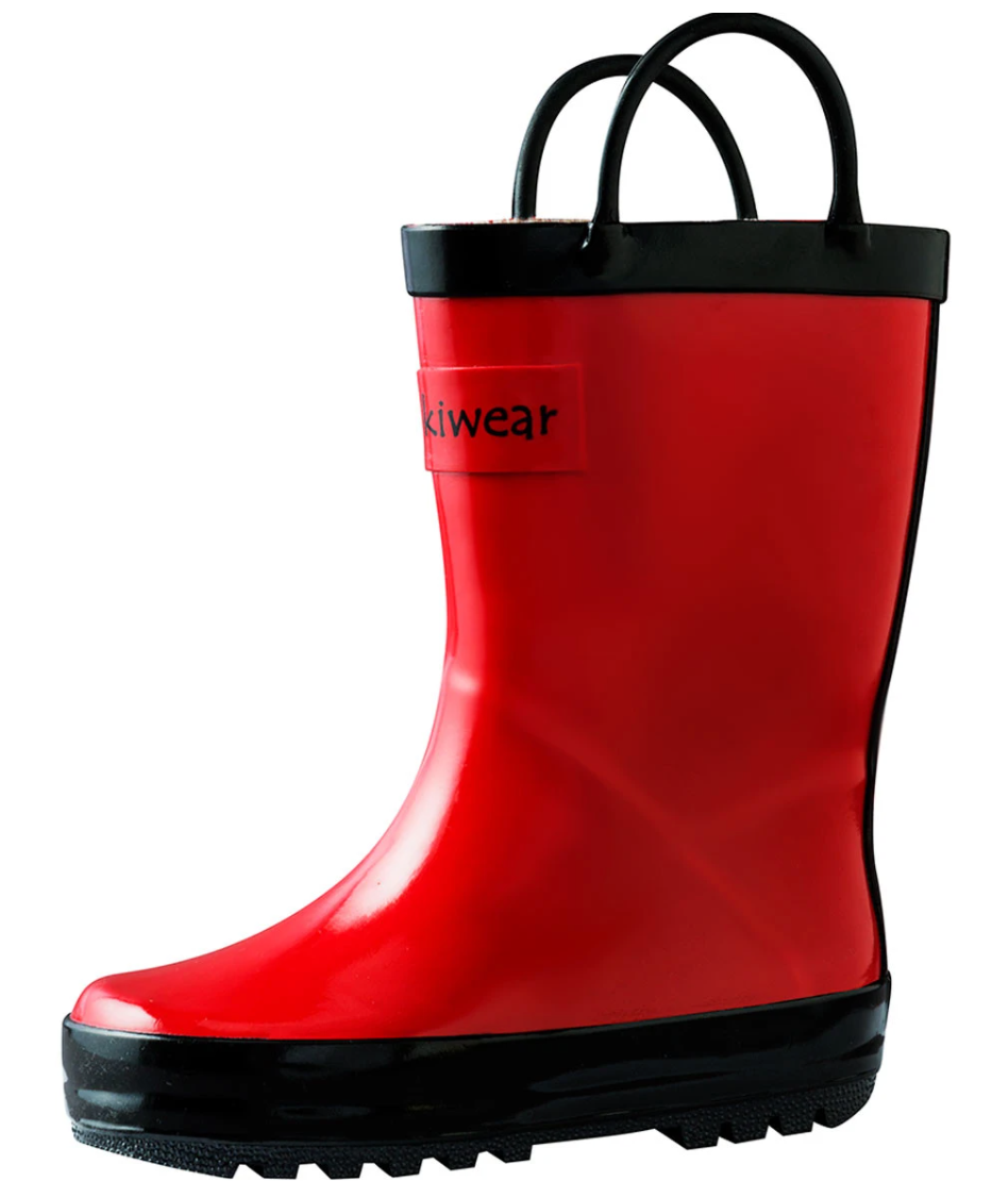 Oakiwear Loop Handle Rubber Rain Boots - Red & Black