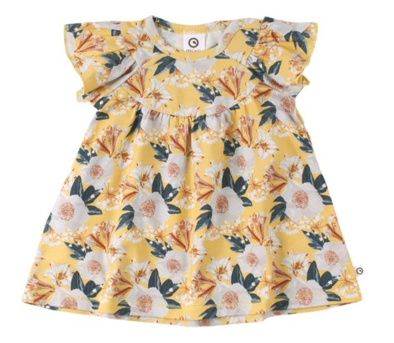 Müsli Organic Cotton Bloom Gather Dress in Sun Yellow