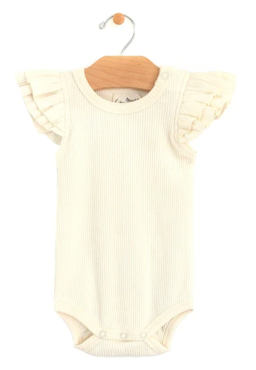 City Mouse Organic Cotton Rib Flutter Sleeve Natural Bodysuit