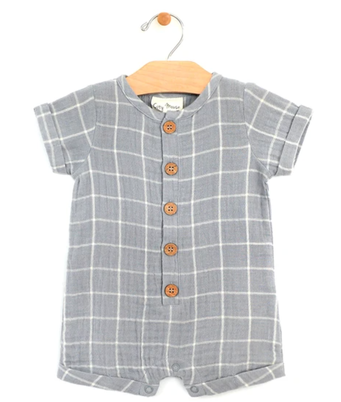City Mouse Organic Cotton Woven Short Button Romper in Windowpane