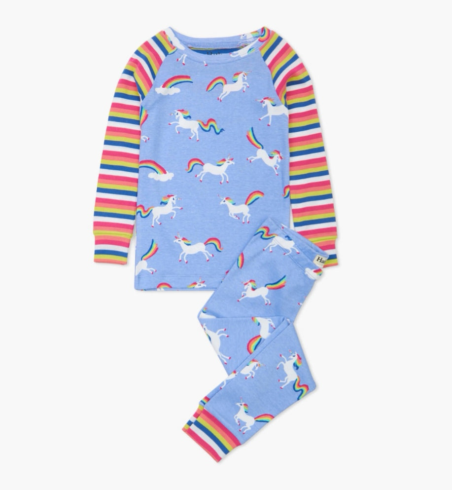 Hatley Rainbow Unicorns Organic Cotton Raglan Pajama Set