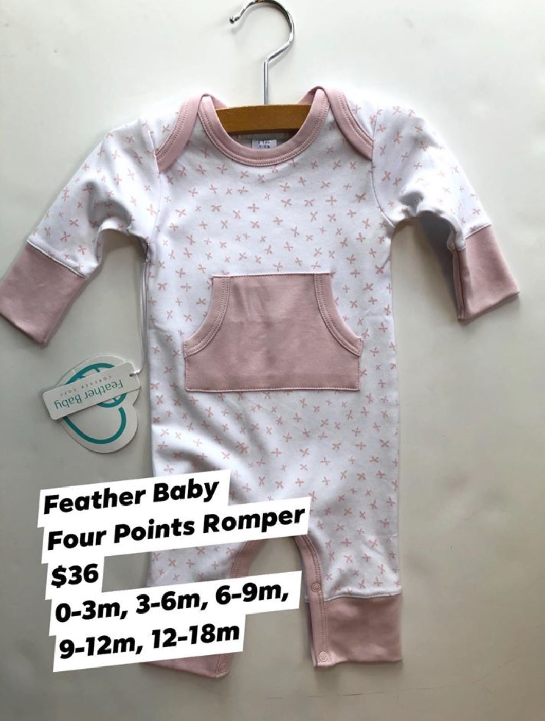 Feather Baby Kangaroo Romper - Pink Points on White