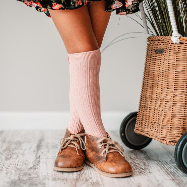 Little Stocking Co. Cable Knit Knee High Socks - Blush