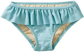 Tea Collection Solid Ruffled Bikini Bottom - Robins Egg