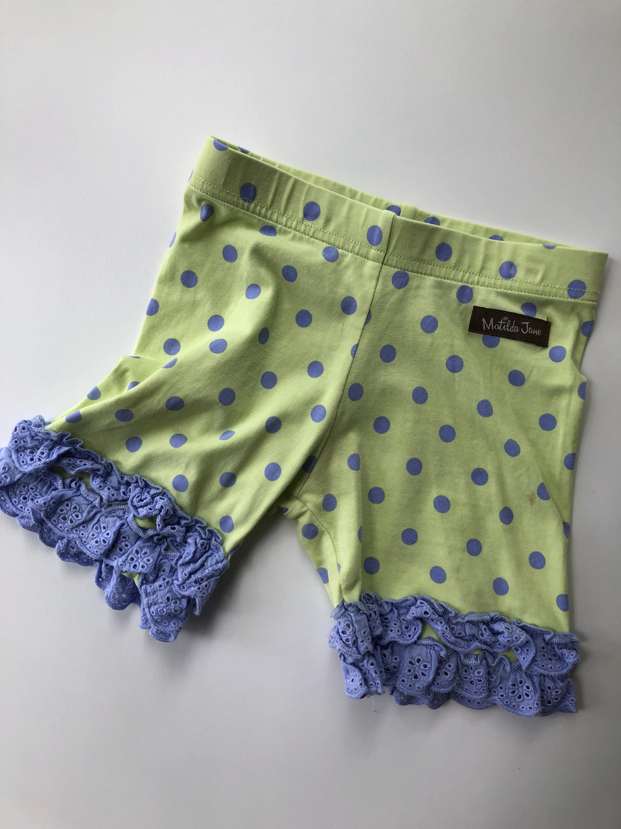 Resale 4T Matilda Jane Periwinkle Polka Dots on Lime Shorts