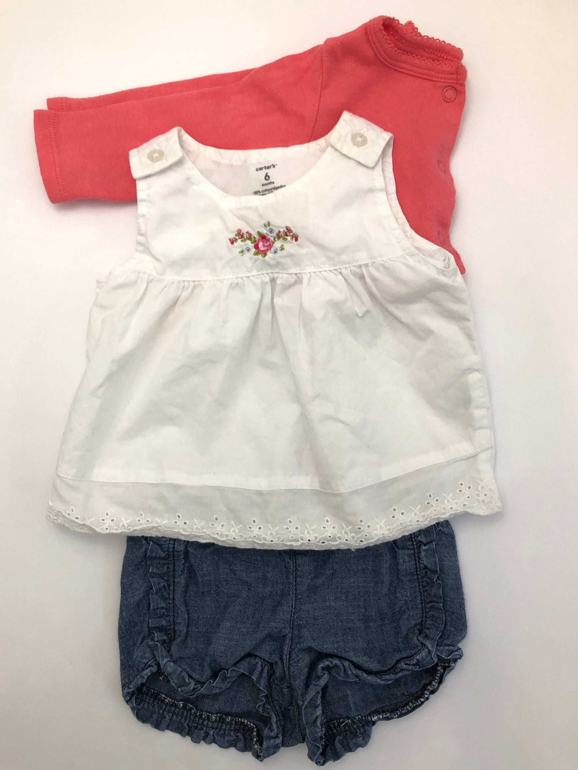 Resale 6 m Carter's Embroidered Floral Top, Denim Shorts & Pink Cardigan Set