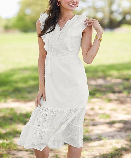 Matilda Jane Sweet As Sugar White Dress - Large
