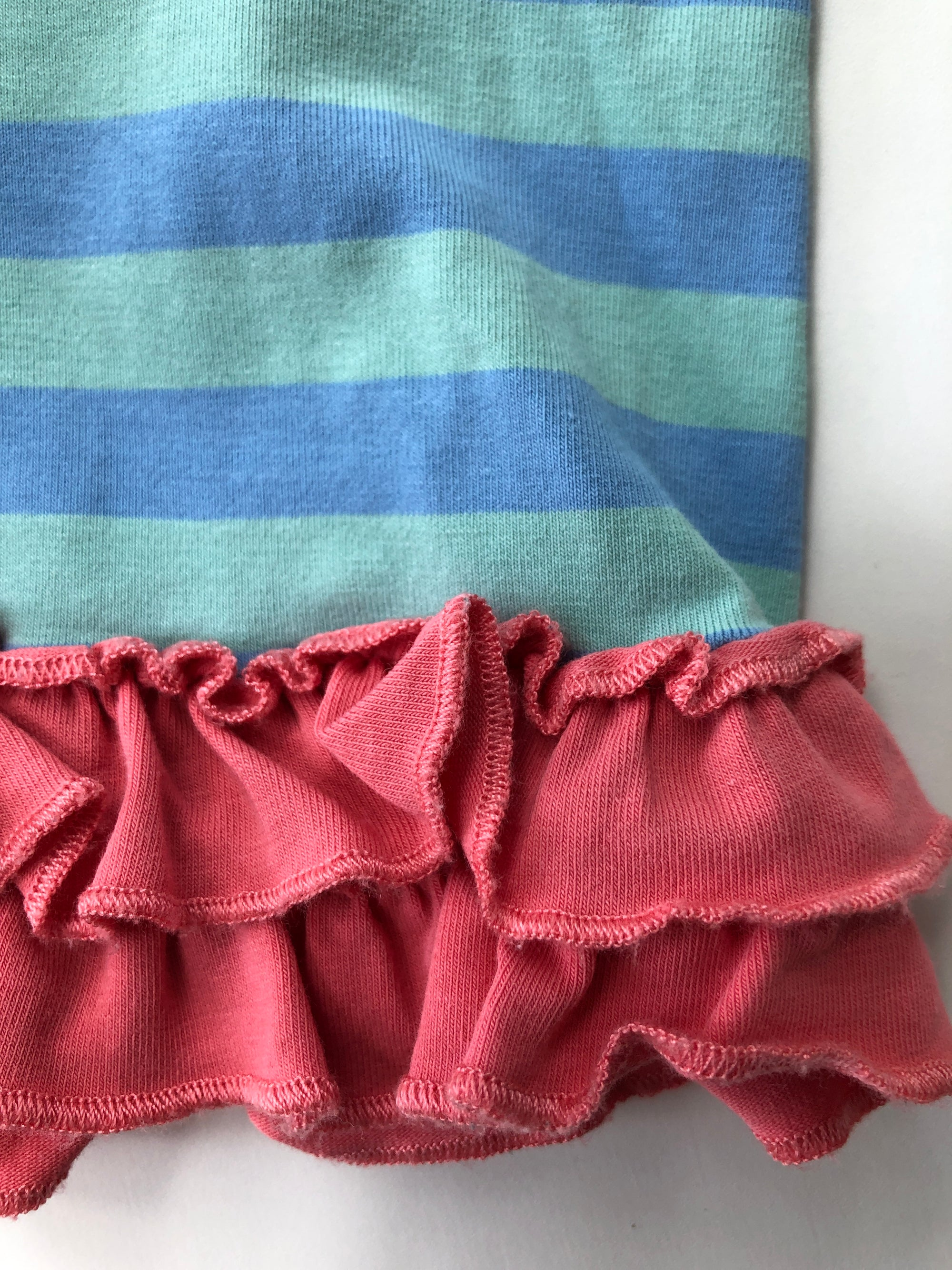 Resale 4T Matilda Jane Sky Blue & Turquoise Stripe Ruffle Shorts
