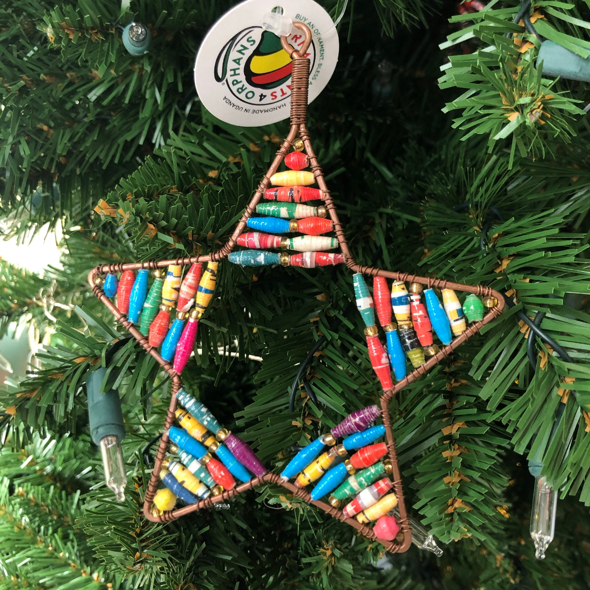 Ornaments for Orphans Paper Bead & Metal Star Ornament