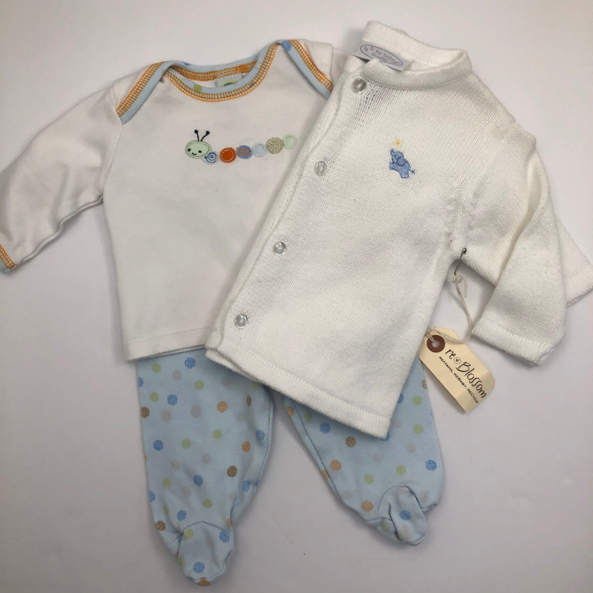 Resale 3 m Little Me Caterpillar Outfit & Le Top Layette White Elephant Cardigan Set