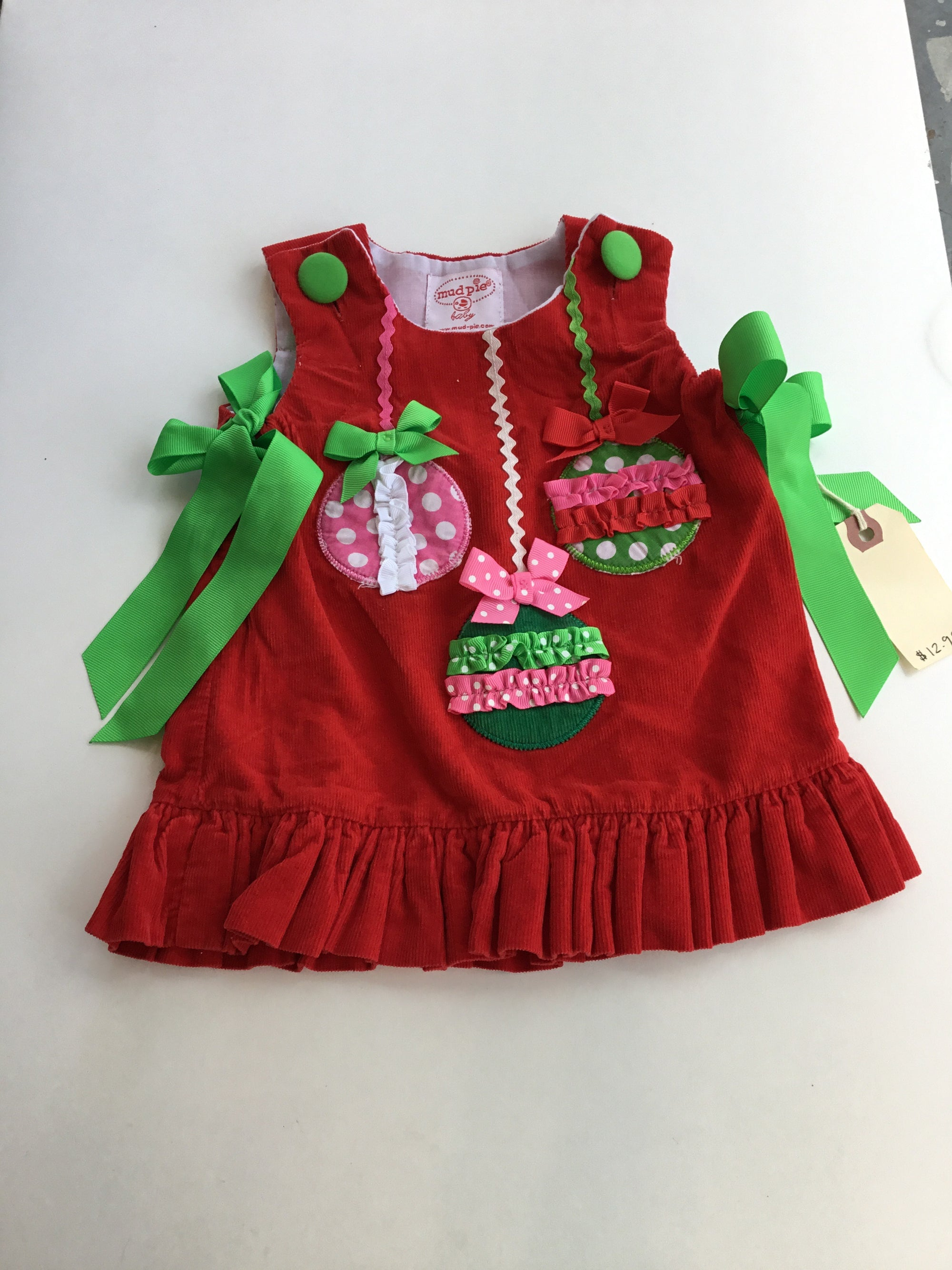 Resale 0-6 months Mud Pie Red Ornament Dress