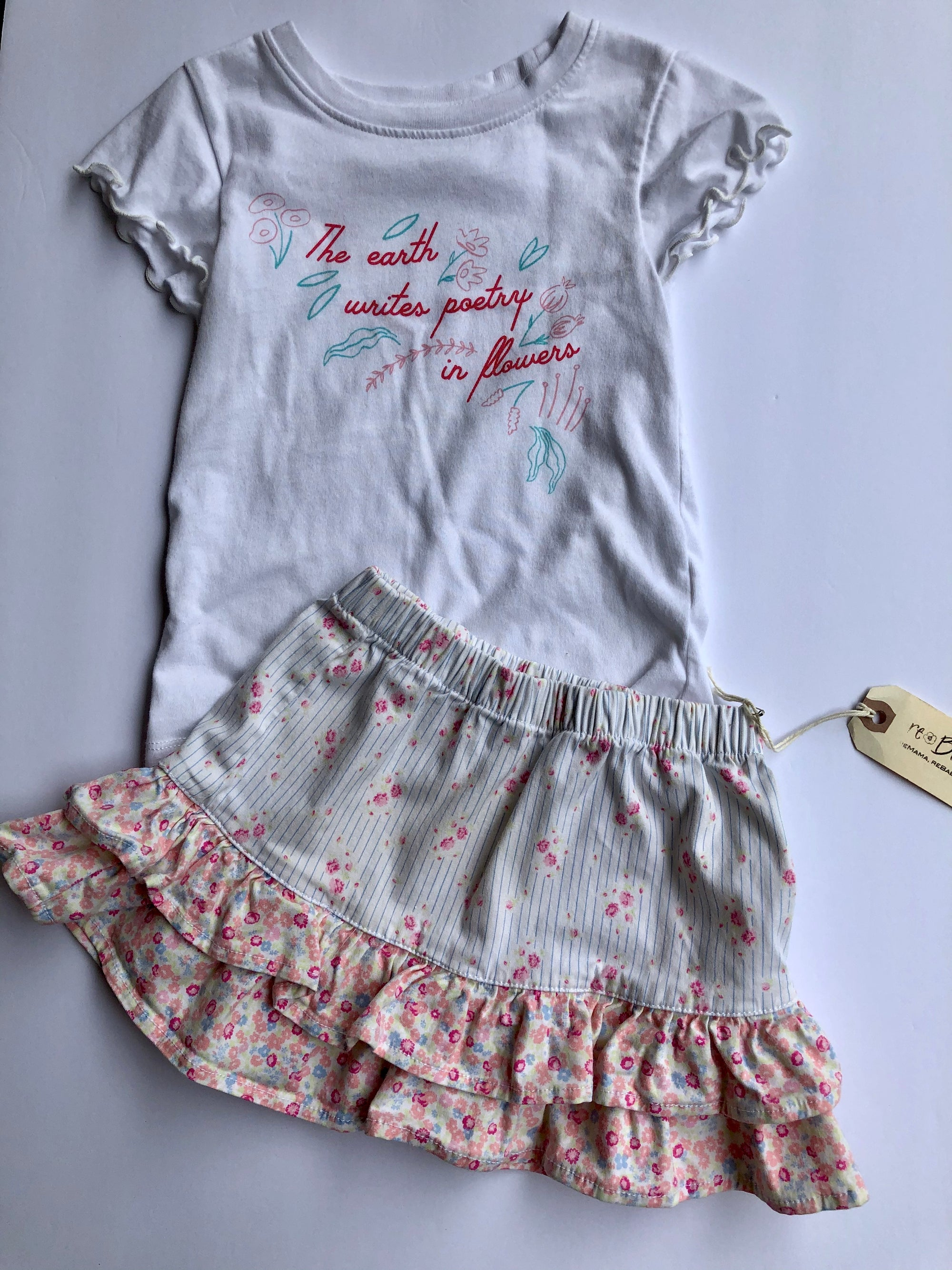 Resale 2T Falls Creek Poetry T-Shirt & Floral Hanna Anderson Skirt