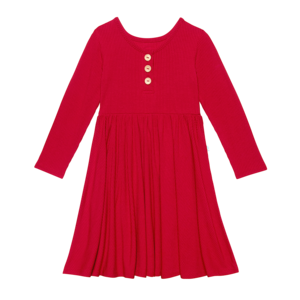 Posh Peanut Long Sleeve Henley Twirl Dress - Crimson