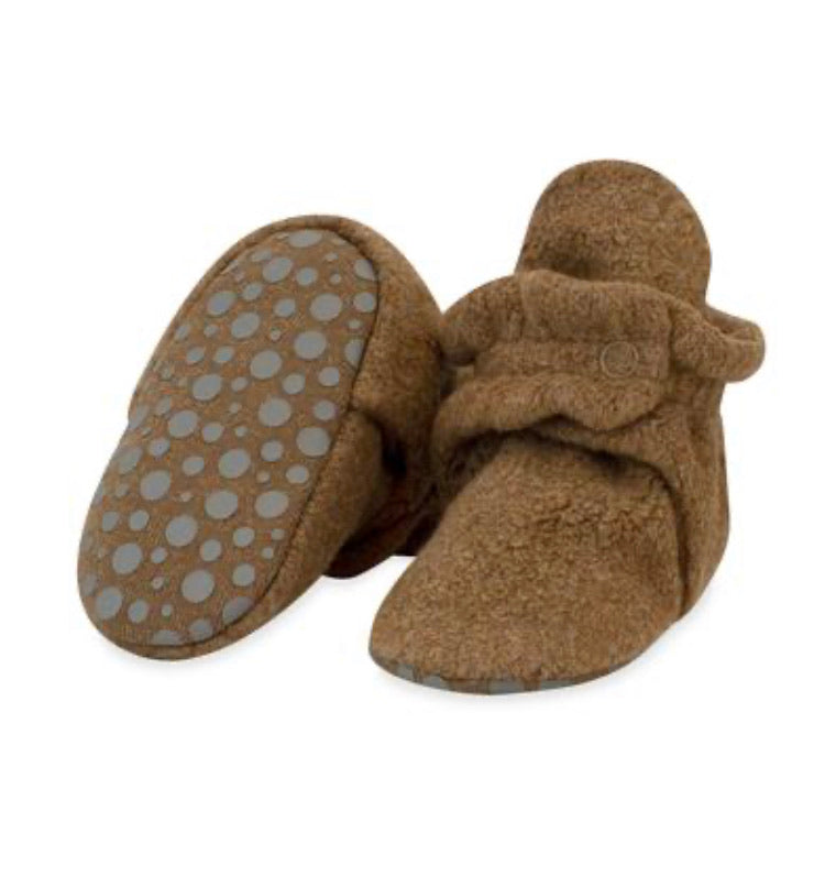Zutano Cozie Fleece Gripper Booties - Heather Mocha