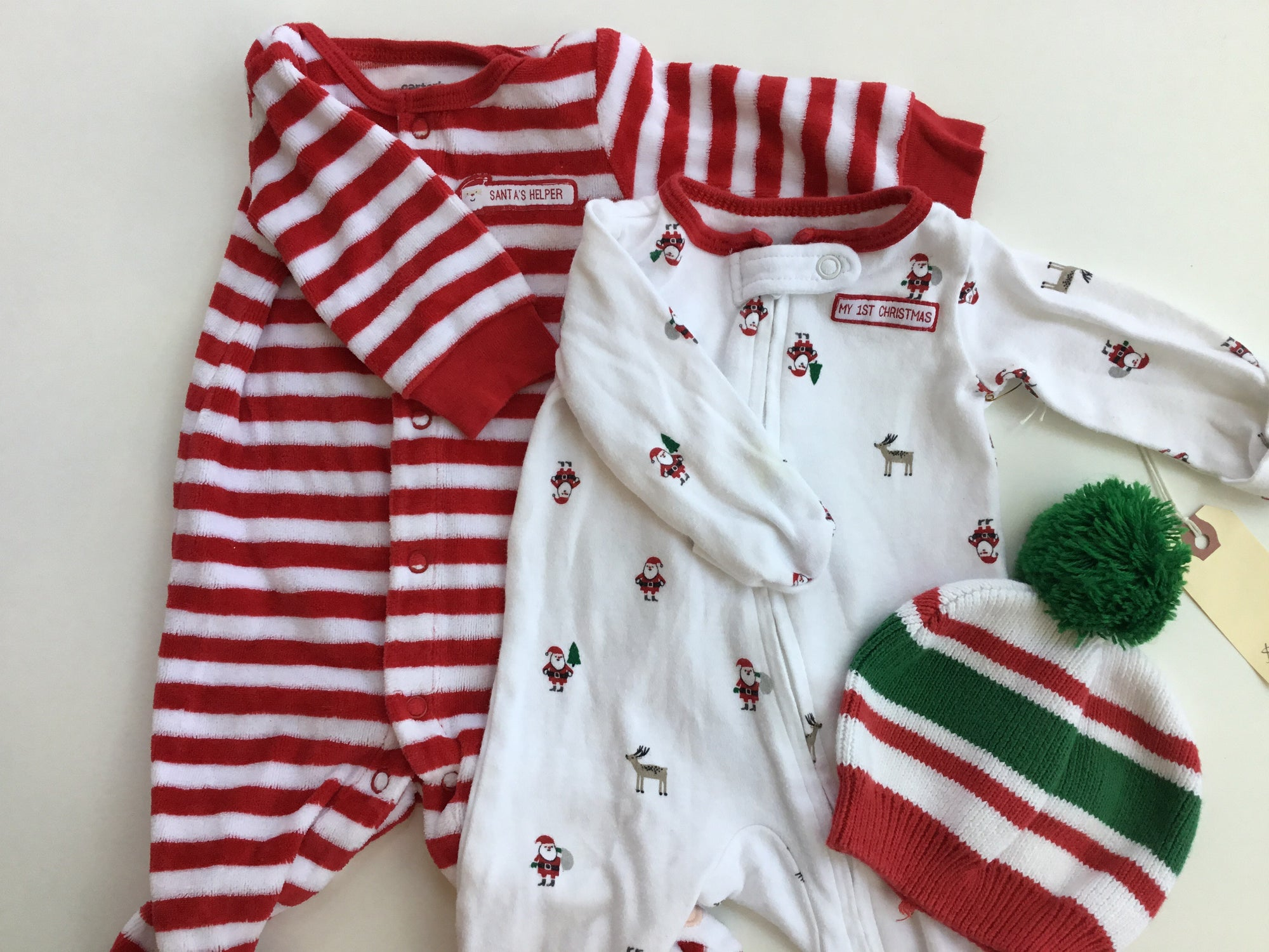 Resale Newborn Carter's Christmas Footie Pajamas Set & Hat 3pc Set
