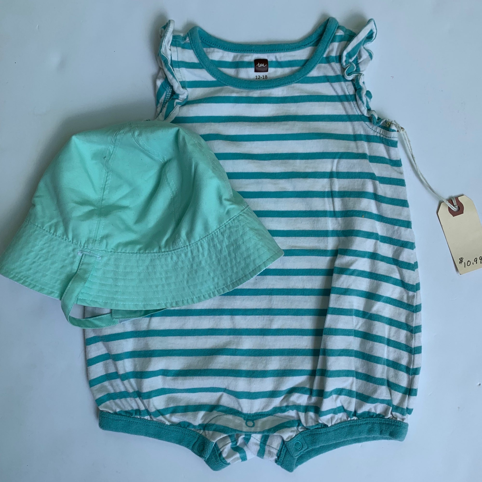 Resale 12-18 m Tea Collection Romper & Mint Hat