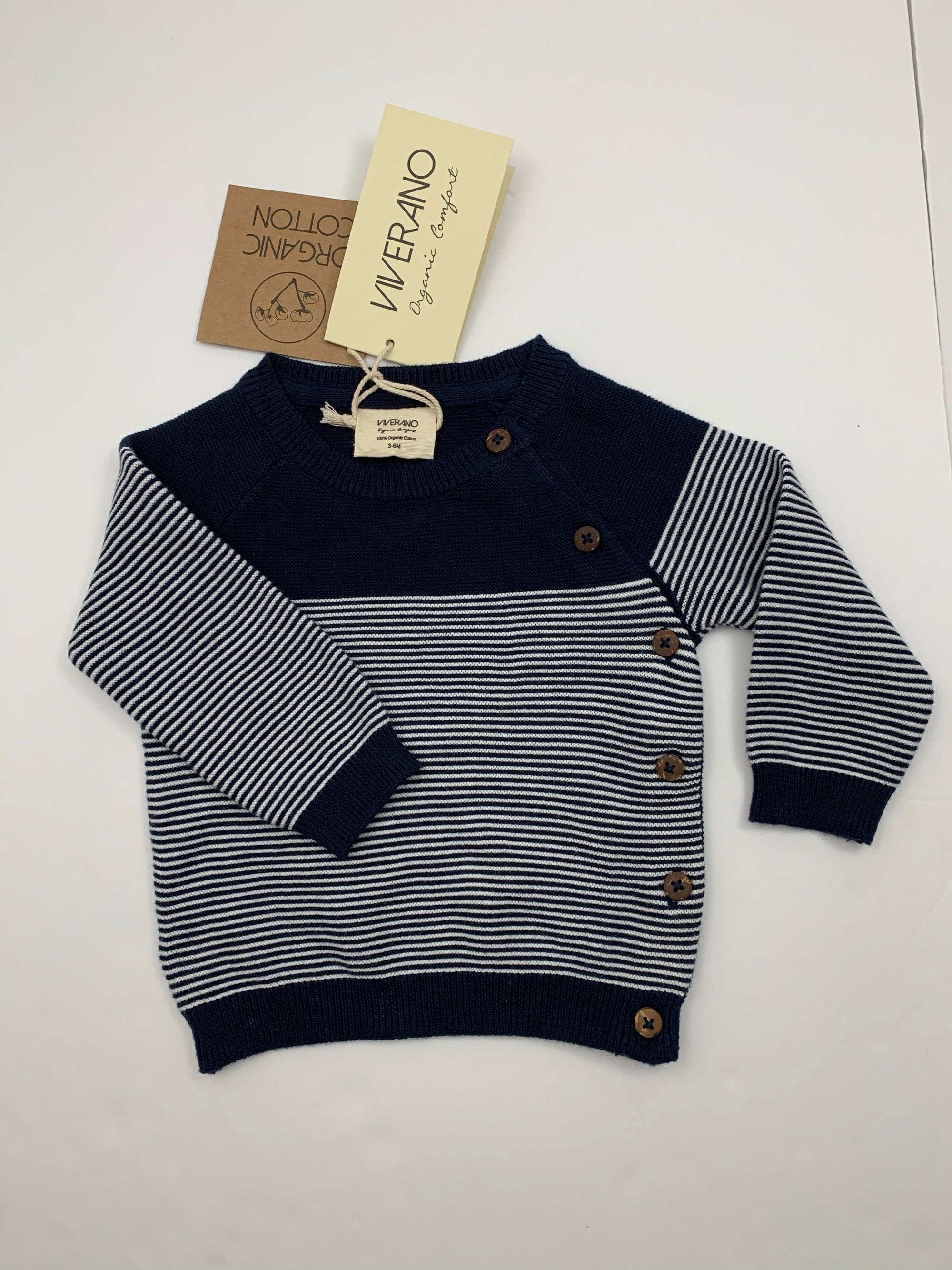 Viverano Navy Striped Side Button Sweater