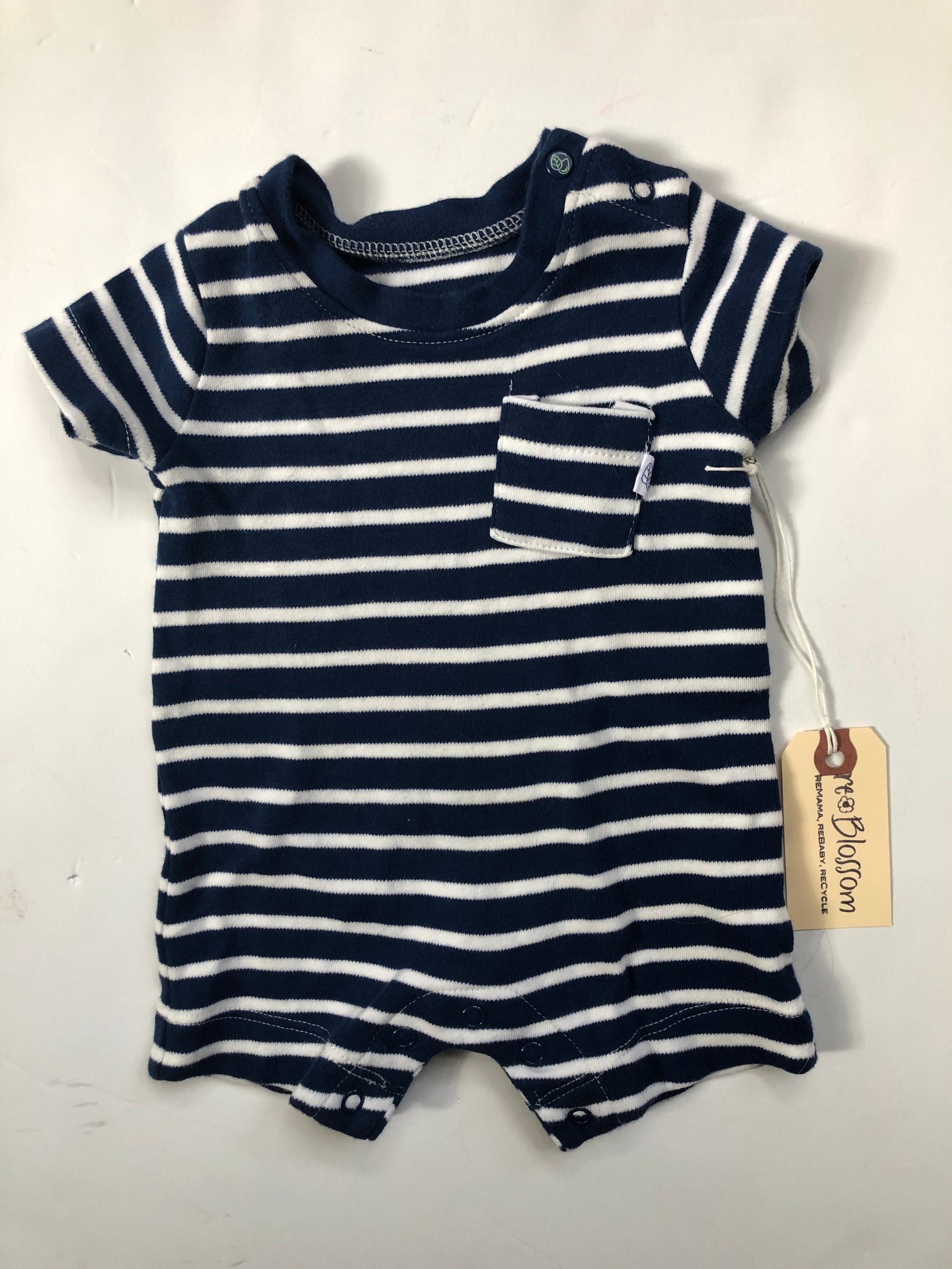 Resale Oliver & Rain Navy Striped Romper - Newborn