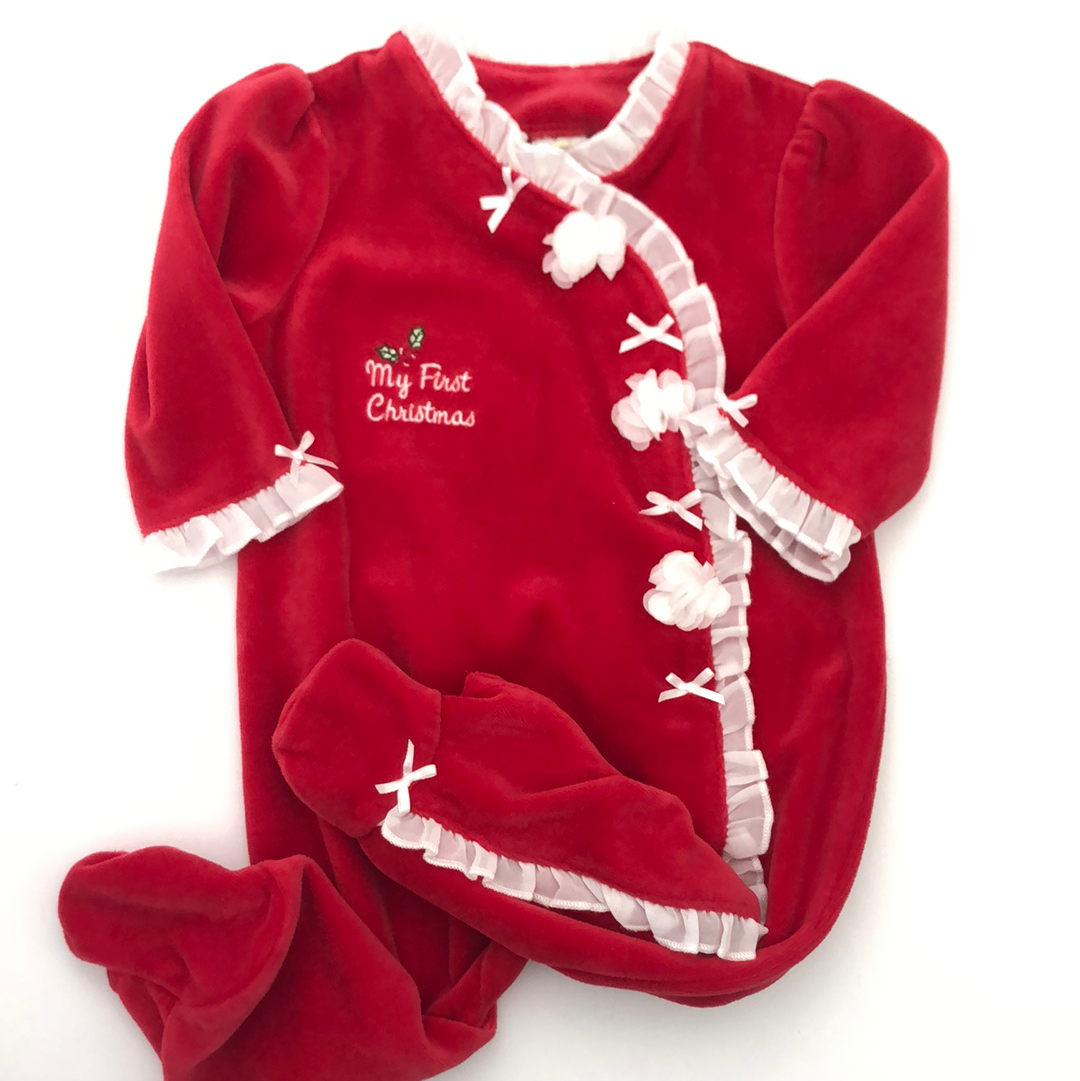 Resale 6 m Little Me My First Christmas Velour Footie