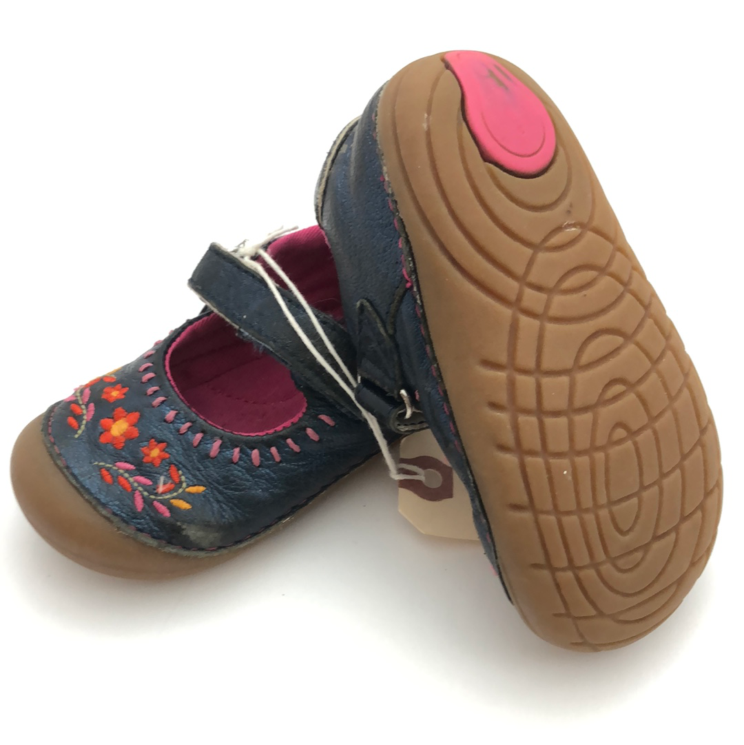 C6 Stride Rite Soft Motion Navy & Pink Floral Mary Jane Shoes