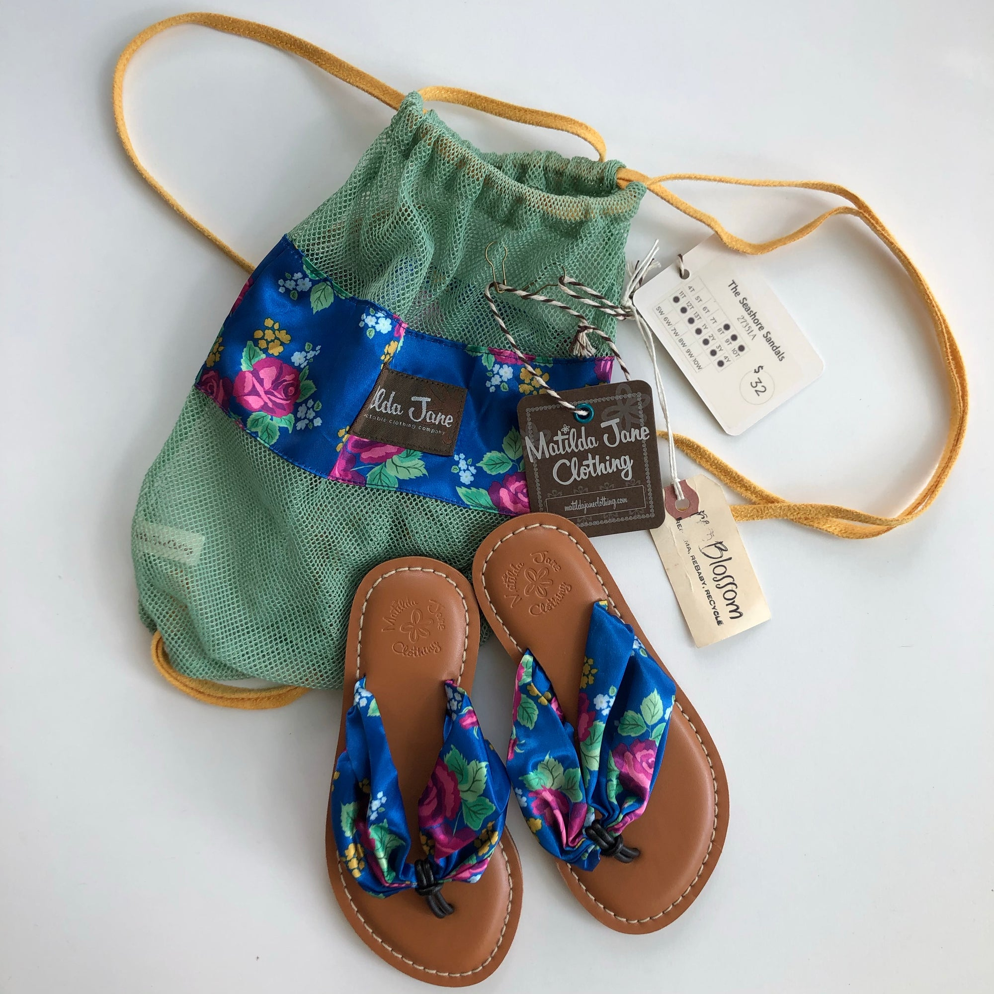 Resale Size 11 Matilda Jane Seashore Sandals with Travel Sack