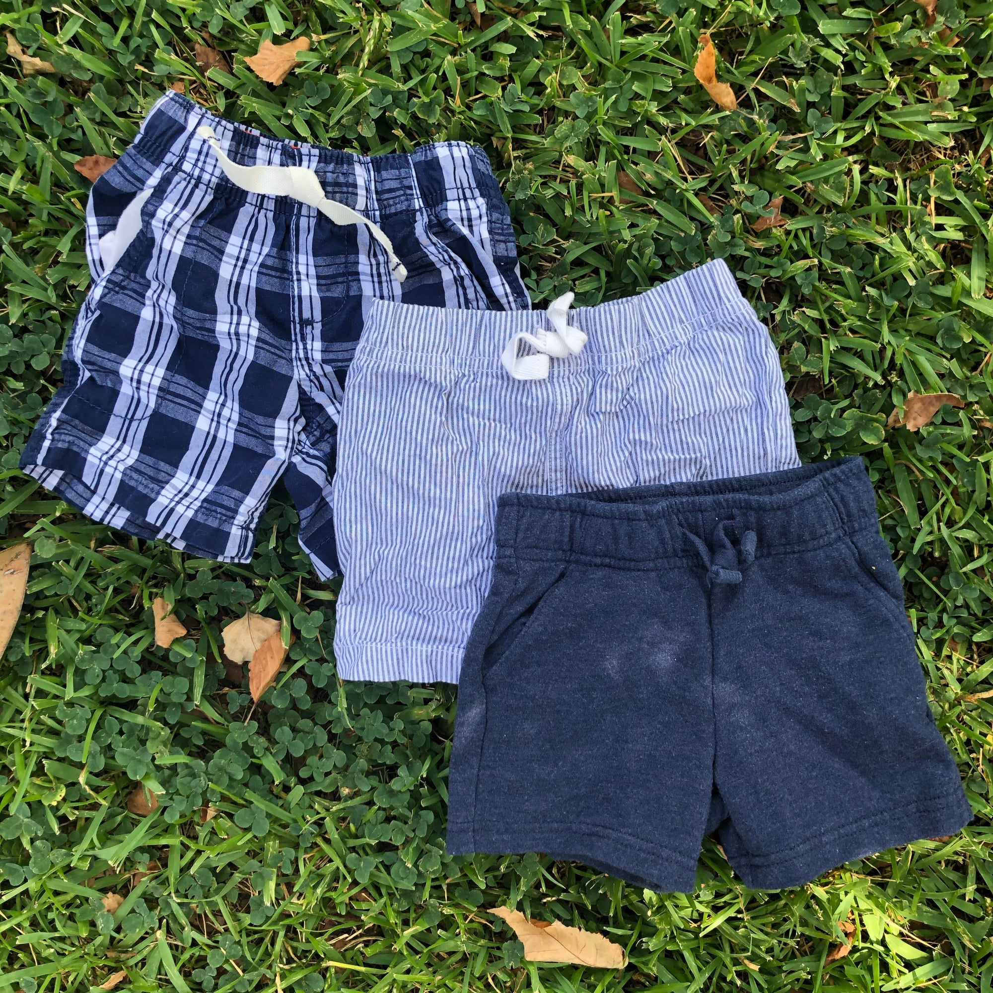 Resale 12 m Carter's & Cat & Jack Navy Plaid, Stripes & Solid Shorts Set