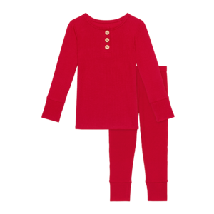 Posh Peanut Long Sleeve Henley Loungewear - Crimson