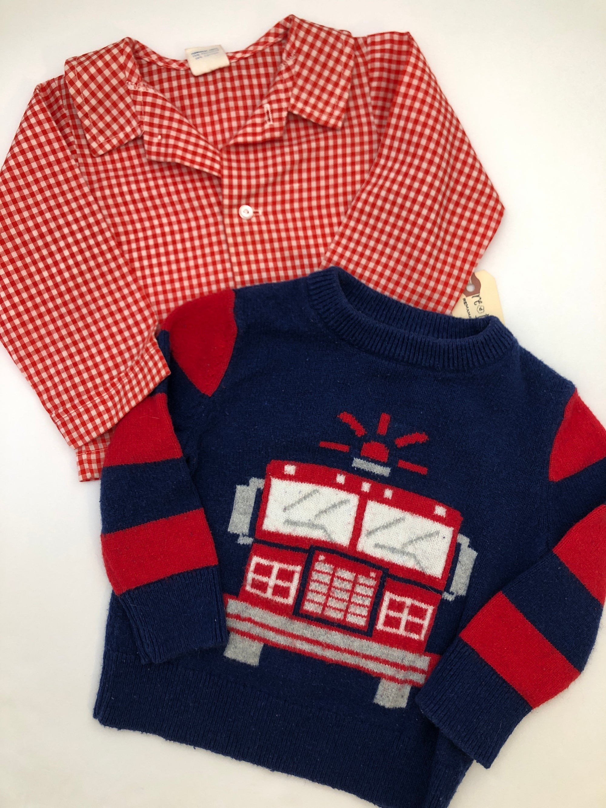 Resale 18-24 m Baby Gap Fire Truck Sweater & Vintage Red Gingham Shirt Set