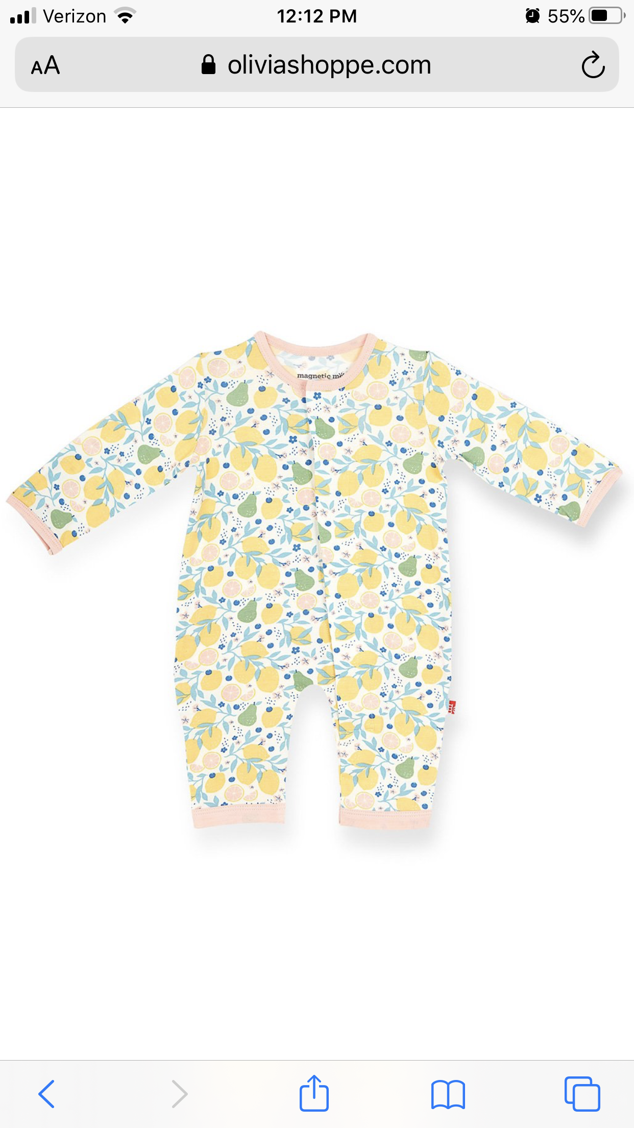 Magnetic Me Organic Cotton Magnetic Coverall - Citrus Bloom