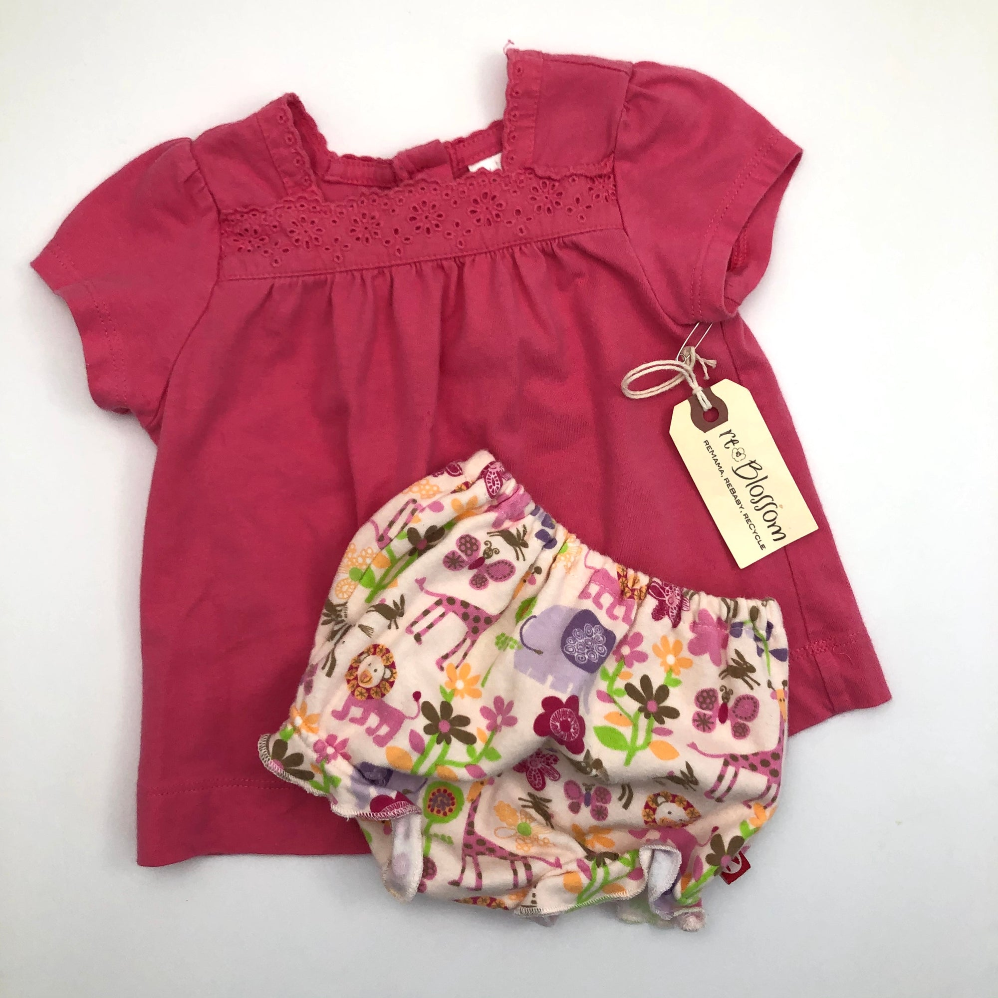 Resale 6-12 m Gap Pink Eyelet Shirt & 6 m Zutano Jungle Animal Bloomer Set