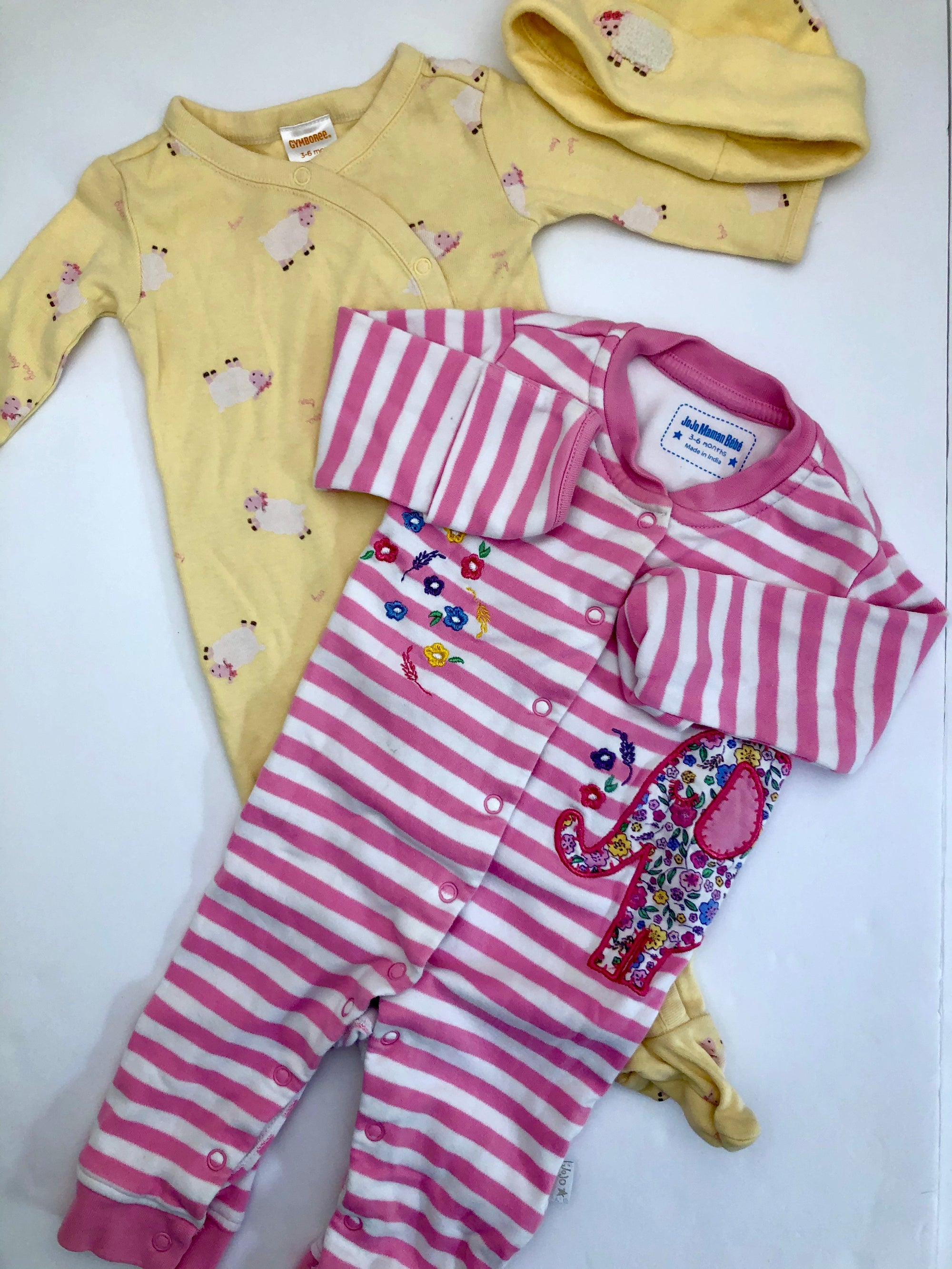 Resale 3-6 m Gymboree Yellow Sheep Footie Sleeper and Jojo Maman Bebe Pink Stripe Floral Footless Romper