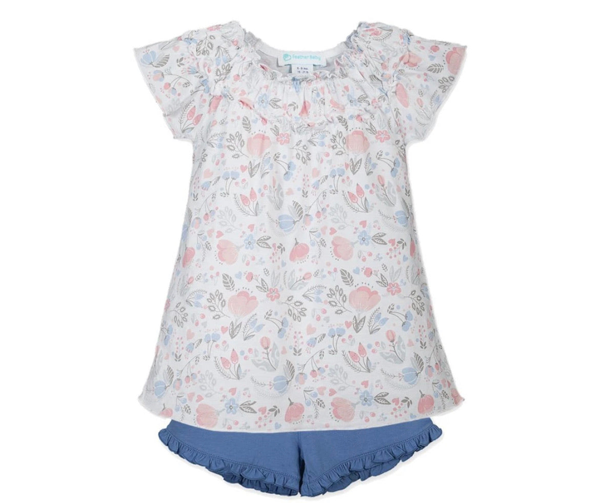 Feather Baby Ruched Tunic & Short - Caroline Floral
